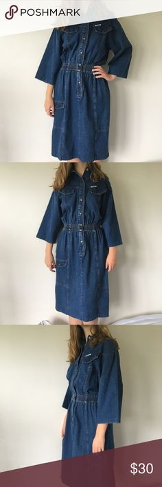 """Vintage Denim Dress INCREDIBLE vintage button down denim dress. Size 8 dress size, would recommend for sizes small-medium. Stretches at the waist & really shows off your amazing curves! Model is 5'8"""" and it hits about to her knees. In amazing vintage condition. Dresses Long Sleeve"""