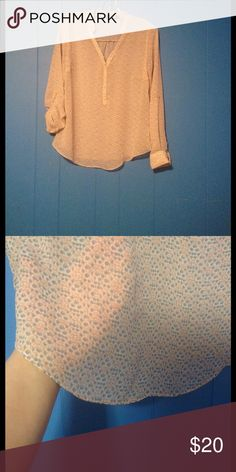 Sheer a.n.a top NWOT This shirt is so pretty! It is see through making it appropriate for spring and summer. I put one sleeve up and left one down showing you your options. 😀 a.n.a Tops Blouses