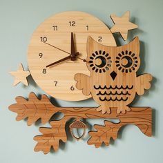 CLOCK~Night Owl Bamboo Wall Clock by graphicspaceswood on Etsy, $110.00