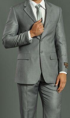 MEN'S THREE BUTTON LIGHT GREY SUIT WITH STRIPES: Men Suits Designer Men Wedding Suits   Suit2Suit.com