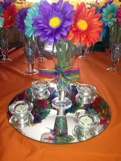 Centerpieces my sister did for our 'rainbow wedding'