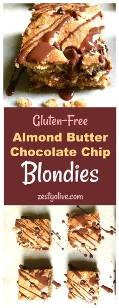 Gluten Free Almond Butter and Chocolate Chip Blondies #glutenfree #blondies #desserts #almondbutter #chocolate