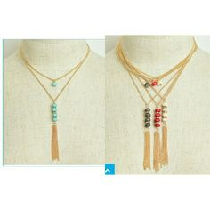 """Gem chain tassel drop necklace Gold chain. Two layer nacklace. 9"""" length. Price is firm. Retail items can only be bundled with other retail items. Please comment with color desired and I will make a separate listing for you.  2 off white  2 dark gray 2 red  3 turquoise. Sassy Lea to a T Jewelry Necklaces"""