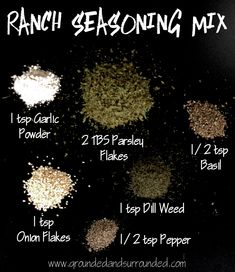 Homemade Ranch Seasoning Mix. Easy as 1-2-3! www.groundedandsurrounded.com
