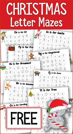 Christmas Dot Fun Letter Mazes are great for tots, preschoolers and Kindergartners! Work on identifying upper and lowercase letters all with a Christmas theme. Preschool Christmas Activities, Alphabet Activities, Kindergarten Activities, Preschool Readiness, Preschool Themes, Learning Letters, Language Activities, Free Christmas Printables, Christmas Themes