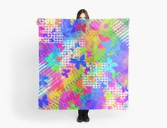 """""""Happy Butterfly Neon Abstract Painting"""" Scarves by jaggerstudios Chiffon Tops, Scarves, Iphone Cases, Butterfly, Neon, Throw Pillows, Abstract, Happy, Artwork"""