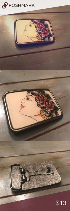 Belt buckle! Such a cool belt buckle...tiny scratch on front (see 2nd photo) but not noticeable at all while wearing! Accessories Belts