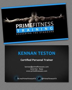 Branding, photography and business card design for Personal Trainer in Austin. Took photo in garage using 2 light sources, edited in Photoshop.