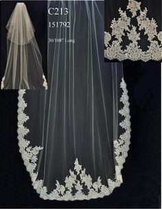 Two Layer Cathedral Wedding Veil C213 with Beaded Alencon Lace - Affordable Elegance Bridal -