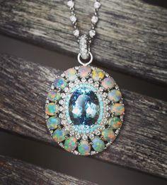 Erica Courtney Aquamarine and Opal Necklace.
