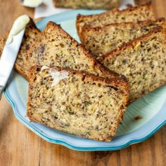 Zucchini Banana Bread with Browned Butter Cream Cheese Frosting.