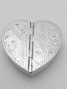 Sterling Silver Heart Pill Box Etched Design x-9032 | Pillboxes / Sterling