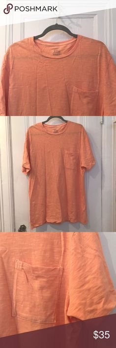 NWOT J.Crew Garment-Dyed Tee A subtle orange garment-dyed tee. This is J.Crews comfiest t-shirt sold for men!  Bought it for myself (a woman) to wear as pajama shirt but forgot about it in my closet! J. Crew Tops Tees - Short Sleeve