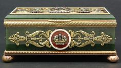 Fine Russian Imperial hand crafted nephrite jade and gold hinged box. Jeweled throughout with diamonds and ruby with crown, monogram and floral scroll work. Guilloche enamel design throughout cover. Holds 56 gold purity mark with Faberge mark and Michael Evlampievich Perchin
