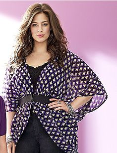 With its bright geometric print and sassy silhouette, our sheer kimono-inspired overpiece layers over tops and dresses for easy elegance. Designed to flatter, it cinches with an elastic belt for great waist definition, and features a deep V-neck and flowing, elbow length sleeves. lanebryant.com