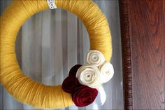 Fall Wreath - yarn wrapped with felt flowers.