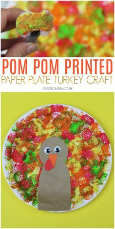 Paper Plate Turkey Craft with Pom Poms