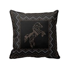 Ethnic tribal boho pattern with horse pillows (£23) ❤ liked on Polyvore featuring home, home decor, horse home decor, boho style home decor, tribal home decor, bohemian style home decor and boho home decor