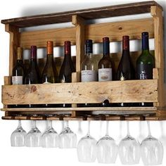 Pallet Wine Rack, Wall Mounted, Made From Rustic Reclaimed Wood, 8 Bottle with Stemware Holder - Natural