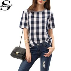 Sheinside Women Summer Style White Royal Blue Check Crew Neck Tees Women Tops Casual Shirts Short Sleeve Plaid T-shirt
