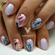 Фламинго в тропиках Ручная роспись гель-лаками #вераксо_зверюшки