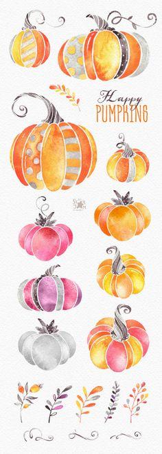 Zucche felici. Clipart dell'acquerello halloween