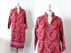 Vintage 70's Cotton Printed Dress / Handmade in Pakistan / Hippie Boho / M by wemovevintage on Etsy
