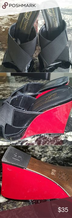 Donald J.pliner slip ons Patent leather black and red , kept in great condition,  see pics. Donald J. Pliner Shoes Wedges
