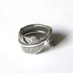 Raven Feather Bypass Ring cast in Solid Sterling Silver by mrd74, $109.00