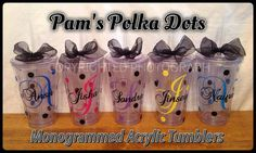 5-Piece Set of Personalized MONOGRAMMED ACRYLIC TUMBLERS with by Pam's Polka Dots, $50.00