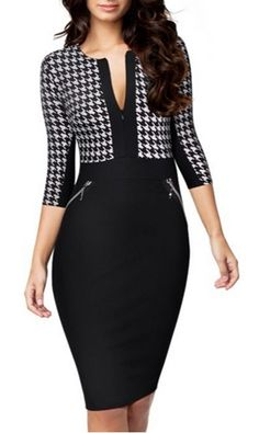 http://www.formalworkattire.com/business-attire-for-women/  Miusol® Formal Houndstooth-Print 2/3 Sleeve Business Dress.