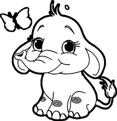nice Butterfly Elephant Coloring Page Zoo Animal Coloring Pages, Monkey Coloring Pages, Super Coloring Pages, Baby Coloring Pages, Cartoon Coloring Pages, Disney Coloring Pages, Coloring Books, Elephant Colouring Pictures, Elephant Coloring Page