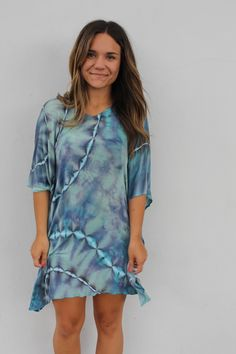 Wear it as a dress, over jeans or at the beach. This Butterfly Twist brings so many options. Love what you wear and feel comfortable while wearing it. -Available in Blue -Hand tie-dyed