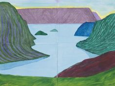 thunderstruck9:  David Hockney (British, b. 1937), Fjord, Kamoyvaer, 2002. Watercolor on four sheets of paper, overall: 36 x 48 in.