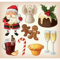 Free Vector illustration of Merry Christmas Festive Food and Decoration Design elements