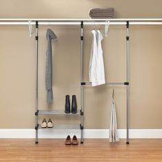 This easy, no assembly closet rod system features coated, silver metal frame with durable resin end connectors. With an extra hanging bar and two adjustable tubular shelves, you will never understand how you ever lived without the added space.