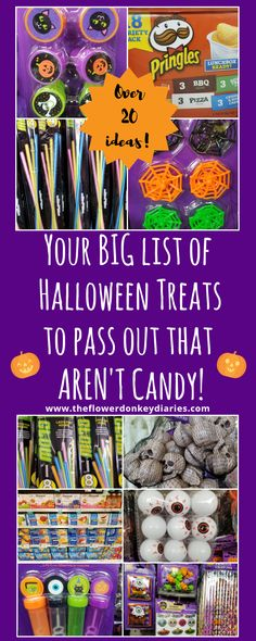 """Looking for something other than candy to pass for Trick-or-treating this Halloween? Here is your BIG list of over 20 non-candy """"treats"""" to hand out this Halloween. Perfect for game prizes, party favors and Halloween goodie bags too! for halloween games Halloween Goodie Bags, Goodie Bags For Kids, Halloween Treats For Kids, Halloween Party Favors, Halloween Goodies, Halloween Trick Or Treat, Halloween Games, Halloween Birthday, Halloween Parties"""