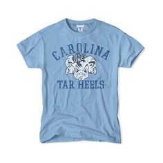 Carolina Tar Heels Mascot T-Shirt ($34) ❤ liked on Polyvore featuring tops, t-shirts, blue t shirt, basketball tee shirts, basketball tee, basketball t shirts and blue tee