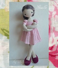 crochet doll in pink collectible art doll by chepidolls on Etsy