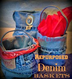 Quick & Easy Denim Baskets repurposed from old worn jeans.  I don't sew so If *I* can do it, anyone can.  Check out how easy this is, y'all! #TaylorMadeHomestead