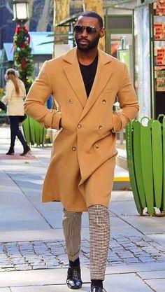 Herringbone wool trousers and cashmere/wool topcoat.
