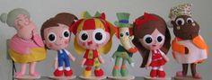 Kit com 09 bonecos da Turma do Sítio do Picapau Amarelo. Confeccionados em feltro. R$ 410,00