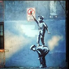 Banksy New Street Art in Chinatown - New York City, USA
