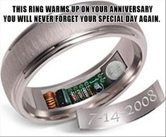 For the forgetful groom, this ring warms up 24 hours before your anniversary
