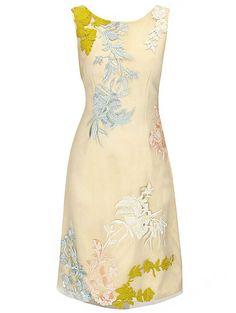 Apricot Round Neck Sleeveless Embroidered Dress