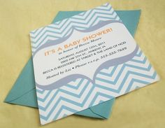 Chevron Personalized Baby Shower invite by SHIMbaby on Etsy, $2.00