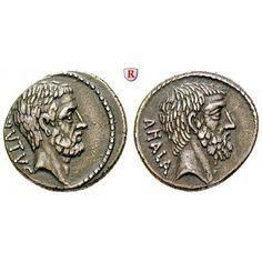 Römische Republik, M. Iunius Brutus, Denar 54 v.Chr., ss-vz: M. Iunius Brutus *85 v.Chr. + 42 v.Chr. Denar 54 v.Chr. Rom. Kopf des… #coins