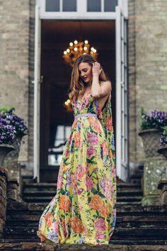 Niomi Smart wears the Matthew Williamson Yellow Duchess Garden parachute silk gown at Hedsor House