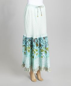 This Blue Sky Mint Floral Peasant Maxi Skirt by Blue Sky is perfect! #zulilyfinds