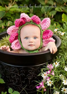 Baby Rose Petal Bonnet, Green, Rose and Pink, You Choose size, Newborn, Infant on Etsy, $30.00